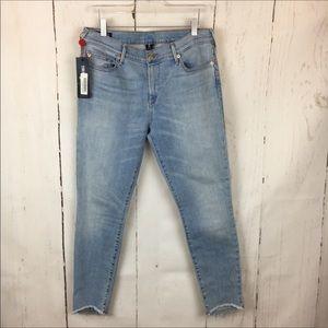 True Religion   High Rise Step Hem Skinny Jean